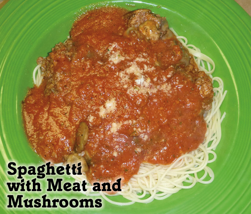 spaghetti with meat and mushrooms